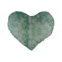 Light Circles, Mint Green Color Standard 16  Premium Flano Heart Shape Cushions by picsaspassion
