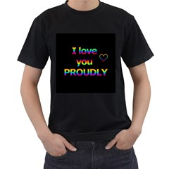 I Love You Proudly Men s T Shirt (black) (two Sided) by Valentinaart