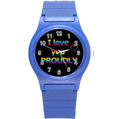 I Love You Proudly Round Plastic Sport Watch (s) by Valentinaart