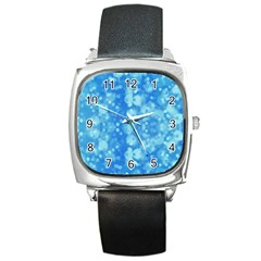 Light Circles, Dark And Light Blue Color Square Metal Watch by picsaspassion