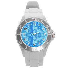 Light Circles, Dark And Light Blue Color Round Plastic Sport Watch (l) by picsaspassion