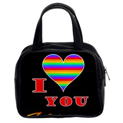 I Love You Classic Handbags (2 Sides) by Valentinaart