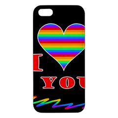 I Love You Apple Iphone 5 Premium Hardshell Case by Valentinaart