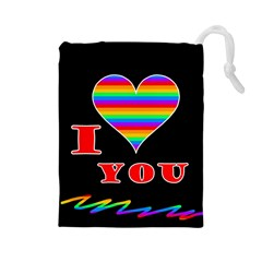 I Love You Drawstring Pouches (large)  by Valentinaart