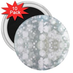 Light Circles, Blue Gray White Colors 3  Magnets (10 Pack)  by picsaspassion