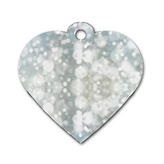 Light Circles, Blue Gray White Colors Dog Tag Heart (one Side) by picsaspassion