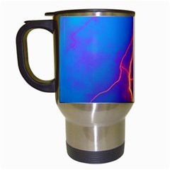 Lightning Colors, Blue Sky, Pink Orange Yellow Travel Mugs (white) by picsaspassion