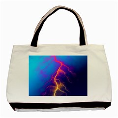 Lightning Colors, Blue Sky, Pink Orange Yellow Basic Tote Bag by picsaspassion