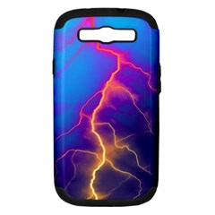 Lightning Colors, Blue Sky, Pink Orange Yellow Samsung Galaxy S Iii Hardshell Case (pc+silicone) by picsaspassion