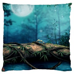 Mysterious Fantasy Nature  Large Cushion Case (one Side) by Brittlevirginclothing