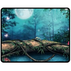 Mysterious Fantasy Nature  Double Sided Fleece Blanket (medium)  by Brittlevirginclothing