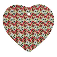 Gorgeous Red Flower Pattern Heart Ornament (2 Sides) by Brittlevirginclothing