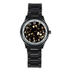 Golden Stars In The Sky Stainless Steel Round Watch by picsaspassion