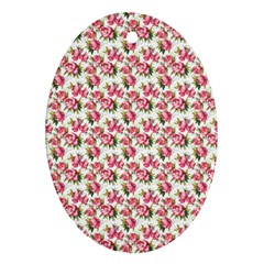Gorgeous Pink Flower Pattern Ornament (oval)  by Brittlevirginclothing
