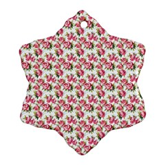 Gorgeous Pink Flower Pattern Snowflake Ornament (2 Side) by Brittlevirginclothing