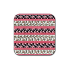 Cute Flower Pattern Rubber Coaster (square)  by Brittlevirginclothing