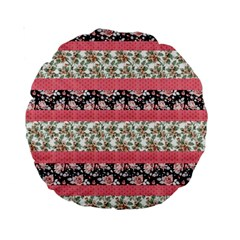Cute Flower Pattern Standard 15  Premium Round Cushions by Brittlevirginclothing