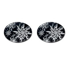 Snowflake In Feather Look, Black And White Cufflinks (oval) by picsaspassion