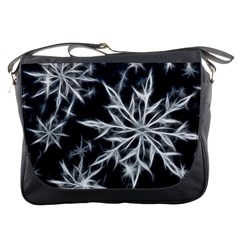 Snowflake In Feather Look, Black And White Messenger Bags by picsaspassion