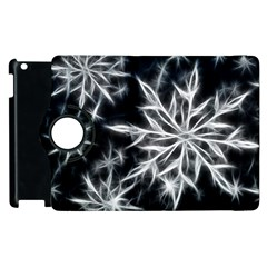 Snowflake In Feather Look, Black And White Apple Ipad 2 Flip 360 Case by picsaspassion
