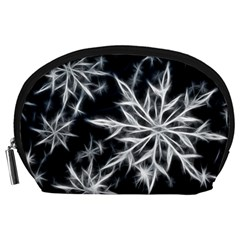 Snowflake In Feather Look, Black And White Accessory Pouches (large)  by picsaspassion