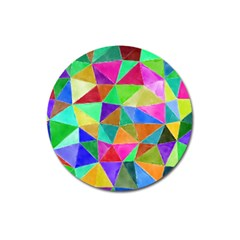 Triangles, Colorful Watercolor Art  Painting Magnet 3  (round) by picsaspassion