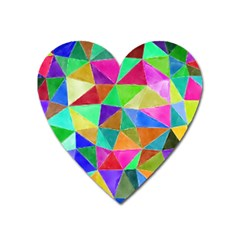 Triangles, Colorful Watercolor Art  Painting Heart Magnet by picsaspassion