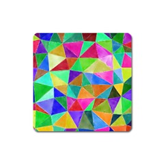 Triangles, Colorful Watercolor Art  Painting Square Magnet by picsaspassion
