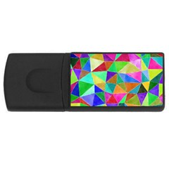 Triangles, Colorful Watercolor Art  Painting Usb Flash Drive Rectangular (4 Gb)  by picsaspassion