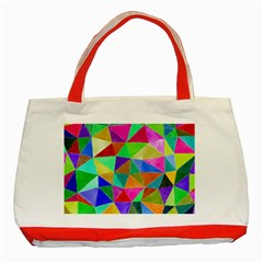 Triangles, Colorful Watercolor Art  Painting Classic Tote Bag (red) by picsaspassion