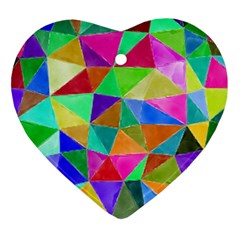Triangles, Colorful Watercolor Art  Painting Heart Ornament (2 Sides) by picsaspassion