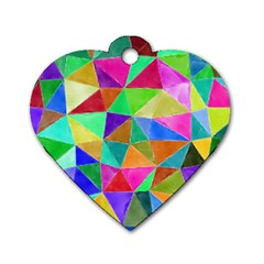 Triangles, Colorful Watercolor Art  Painting Dog Tag Heart (one Side) by picsaspassion