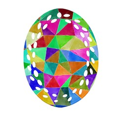 Triangles, Colorful Watercolor Art  Painting Oval Filigree Ornament (2 Side)  by picsaspassion
