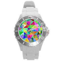 Triangles, colorful watercolor art  painting Round Plastic Sport Watch (L) by picsaspassion