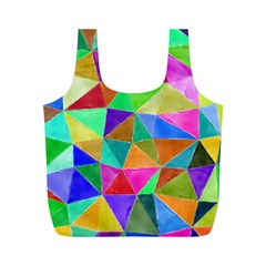 Triangles, Colorful Watercolor Art  Painting Full Print Recycle Bags (m)  by picsaspassion