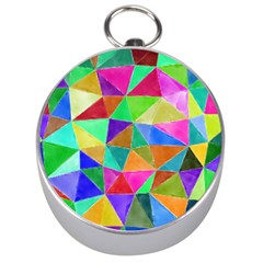 Triangles, Colorful Watercolor Art  Painting Silver Compasses by picsaspassion