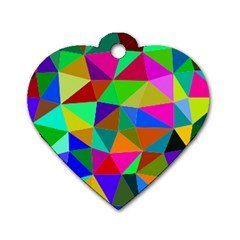 Colorful Triangles, Oil Painting Art Dog Tag Heart (one Side) by picsaspassion