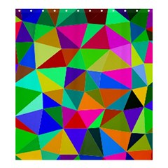 Colorful Triangles, Oil Painting Art Shower Curtain 66  X 72  (large)  by picsaspassion