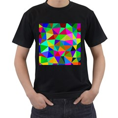 Colorful Triangles, Oil Painting Art Men s T Shirt (black) by picsaspassion
