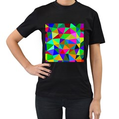 Colorful Triangles, Oil Painting Art Women s T Shirt (black) by picsaspassion