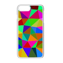 Colorful Triangles, oil painting art Apple iPhone 7 Plus White Seamless Case by picsaspassion