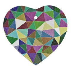 Colorful Triangles, Pencil Drawing Art Ornament (heart)  by picsaspassion