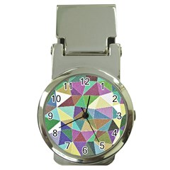 Colorful Triangles, Pencil Drawing Art Money Clip Watches by picsaspassion