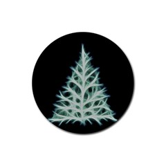 Christmas Fir, Green And Black Color Rubber Round Coaster (4 Pack)  by picsaspassion