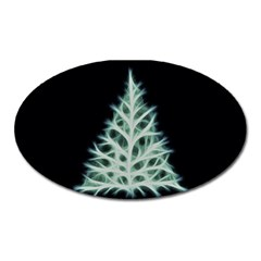 Christmas Fir, Green And Black Color Oval Magnet by picsaspassion