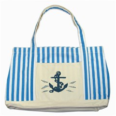 Blue Anchor,  Aquarel Painting Art Striped Blue Tote Bag by picsaspassion