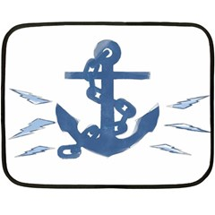Blue Anchor,  Aquarel Painting Art Fleece Blanket (mini) by picsaspassion