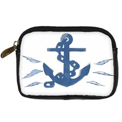 Blue Anchor,  Aquarel Painting Art Digital Camera Cases by picsaspassion