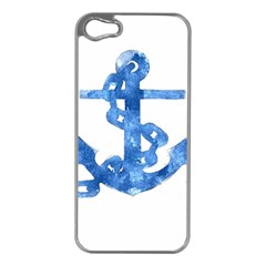 Anchor Aquarel Painting Art, Soft Blue Apple Iphone 5 Case (silver) by picsaspassion