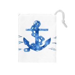 Anchor Aquarel Painting Art, Soft Blue Drawstring Pouches (medium)  by picsaspassion